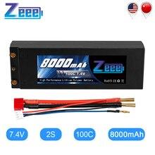 Zeee 7,4 V 100C 8000mAh Lipo Batterie 2S RC Lipo Batterie mit 4mm Kugel Dean-Stil T Stecker für RC Auto Modell Boot Lkw