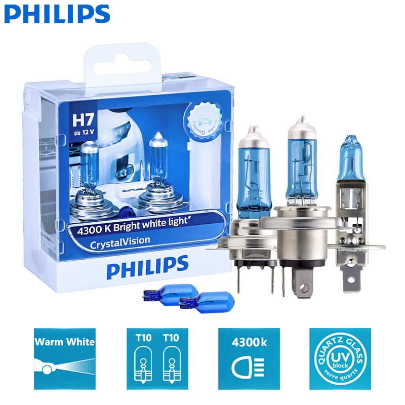 Philips Crystal Vision H1 H4 H7 H11 HB2 HB3 HB4 9003 9005 9006 12V CV 4300K Bright White Car Halogen Head Light Auto Lamp (Twin)