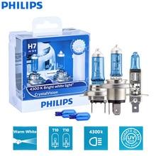 Philips-lampe de tête halogène blanche   Crystal Vision H1 H4 H7 H11 HB2 HB3 HB4 9003 9005 12V CV 9006 K, lampe de voiture (jumelle)