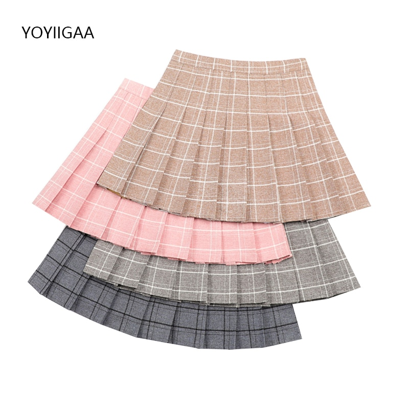 Summer Women's Skirt Harajuku Plaid Skirts Female Cute Sweet Ladies Pleated Skirts High Waist A-Line Girls Dance Mini Skirt