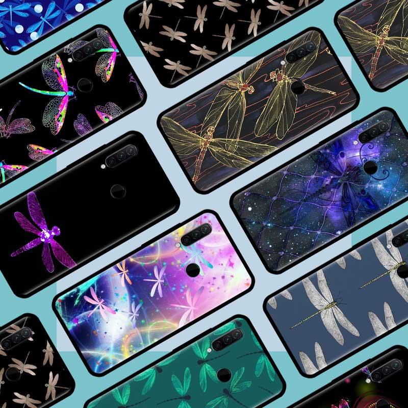 Negro Tpu Capa para Lenovo Z6 Lite A6 nota K10Note para Oneplus 8 7 7T Pro 5G 6 6T Coque Cas libélula arte Animal