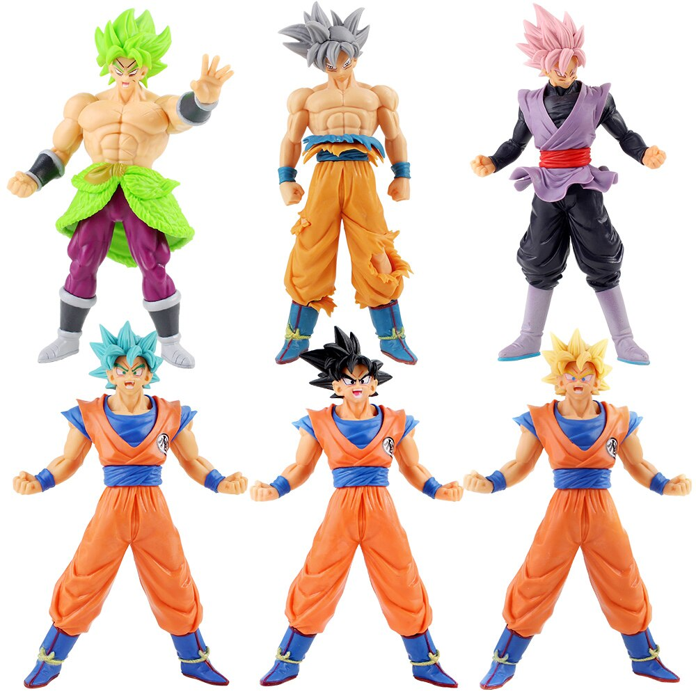 6pcs/Set Dragon Ball SUPER Super Saiyan Blue Ultra Instinct Son Goku Black Goku Broly PVC Figures Collectible Model Toys