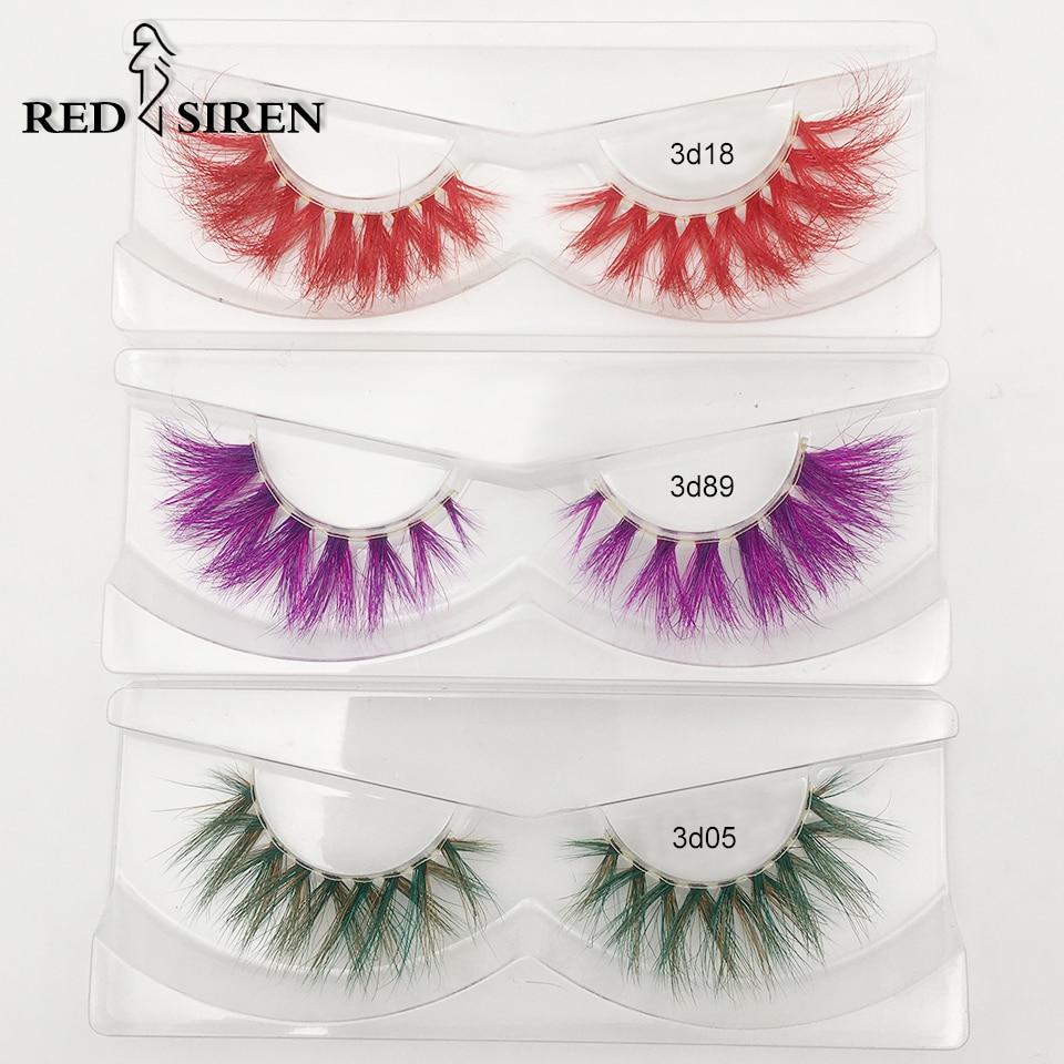 Vermelho sirene colorido cílios 3d vison cílios dramática colorido macio wispy grosso natural cílios maquiagem real vison cílios atacado