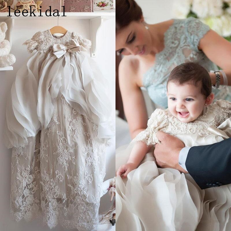 Little Christening Gowns For Baby Girls Beads Appliqued Overskirts Baptism Dresses With Bonnet Lace First Communication Dresses