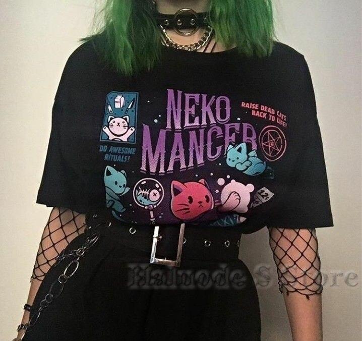 100% algodón 100% algodón Neko Mancer camiseta Unisex Linda estética Grunge negro Tee Satantic gótico ropa camisa de bruja