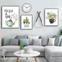 Botanique toile peinture plante verte Cactus affiches et impressions maison douce maison citation Art photo pendaison de cremaillere cadeau decor a la maison