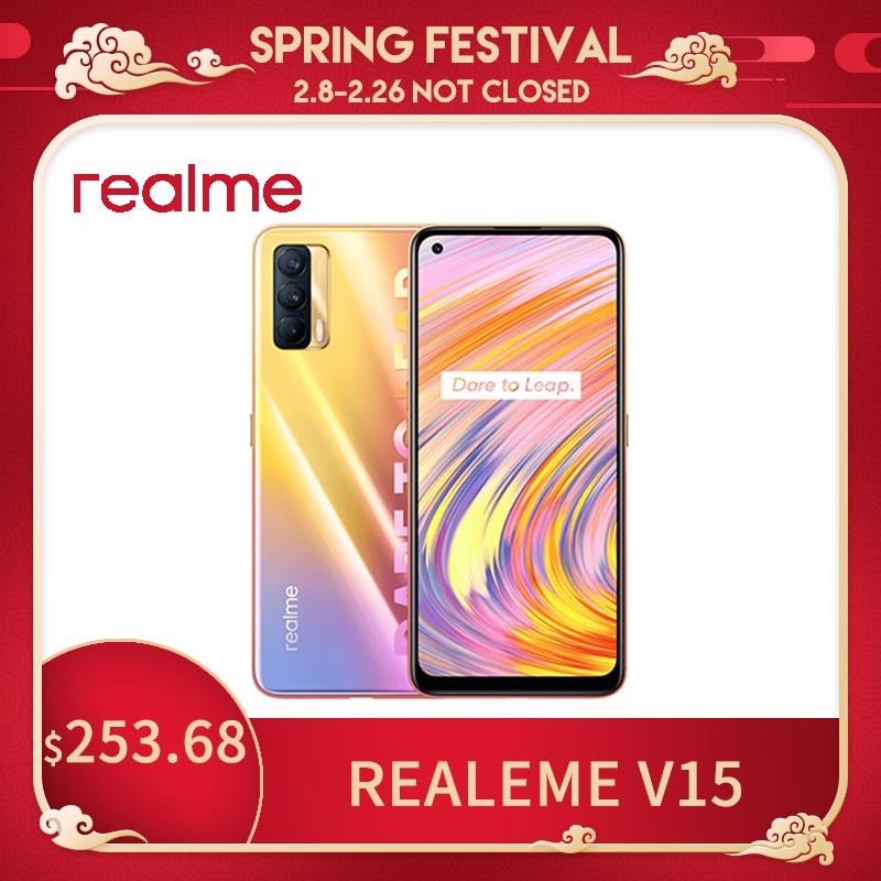 Realme V15 5G Smartphone 50W Fast Charge 6.4'' AMOLED Fullscreen 64MP Triple Cameras 4310mAh MTK Dimensity 800U Mobile Phone