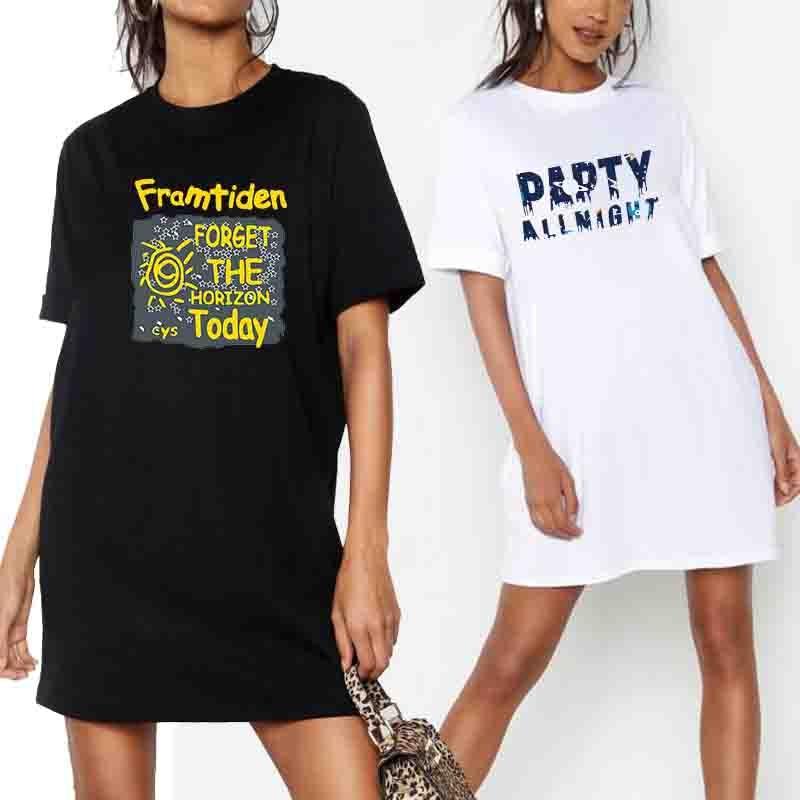 Summer Women Plus Size Dress Fashion Letter Print Korean Loose Harajuku Tshirt Dresses Short Sleeve Streetwear Pullover Vestidos