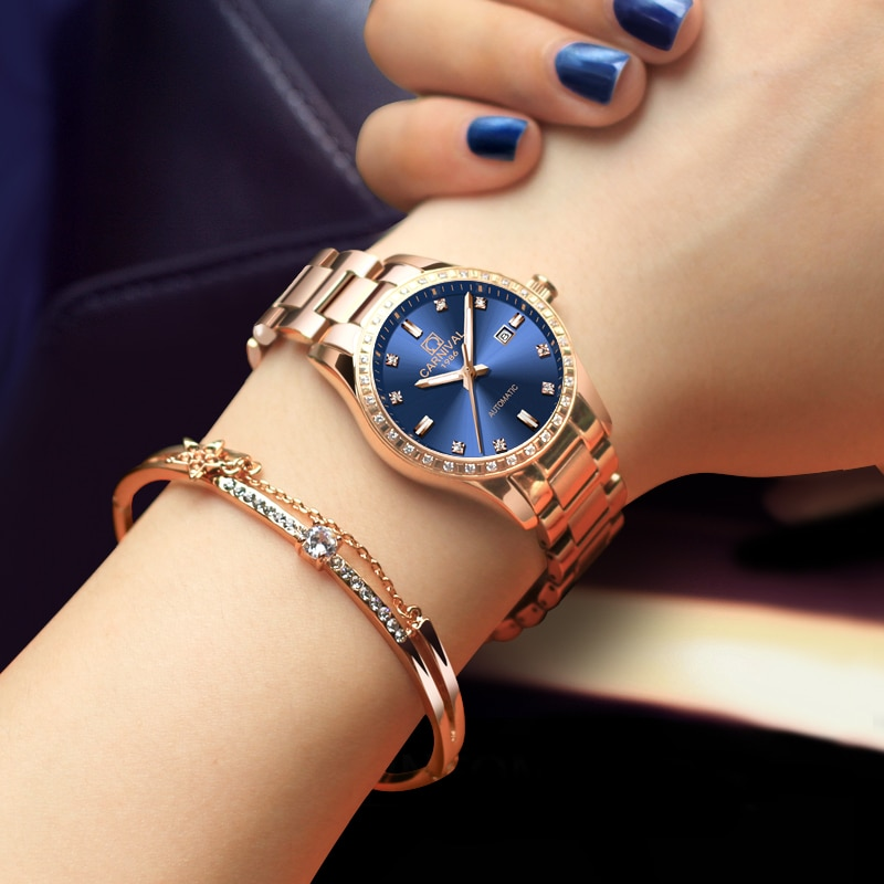 CARNIVAL New Casual Elegant Temperament Calendar Ladies Luminous Waterproof Stainless Steel Strap Automatic Mechanical Watches