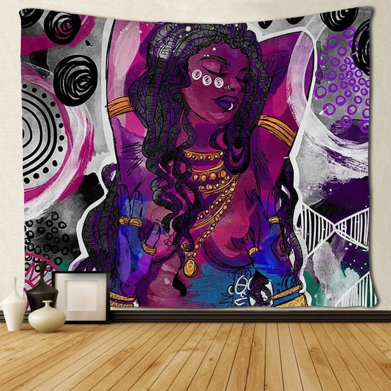 Arte Negro Afro africano Mujer americana tapices Hippie arte colgante de pared