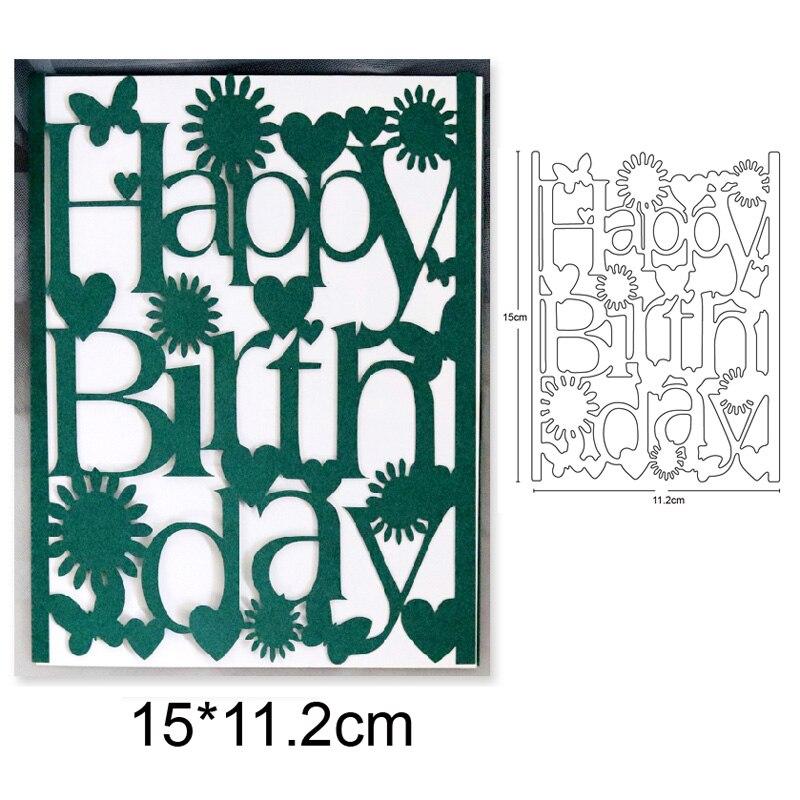Marco de feliz cumpleaños, plantilla de troqueles de Metal para DIY, álbum de recortes, tarjetas de papel de grabado, artesanías, troqueles