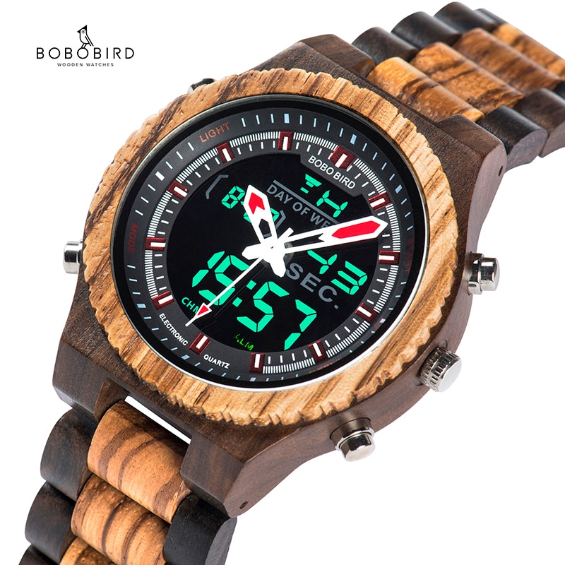BOBO الطيور مضيئة الأيدي مشاهدة الرجال الخشب اليدوية تاريخ السيارات حزام خشبي ساعة الذكور في علبة هدية عيد الميلاد Relogio Masculino B-P02