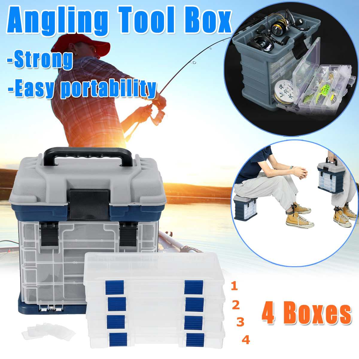 Multifunction 4 Drawers Big Fishing Tackle Box Plastic Handle Fishing Box Carp Fishing Case Tools Fishing Accessories