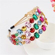 Fascia di strass di design di lusso per donna ragazza gemma colorata venda Bandeau Hairband accessori per capelli estivi all'ingrosso