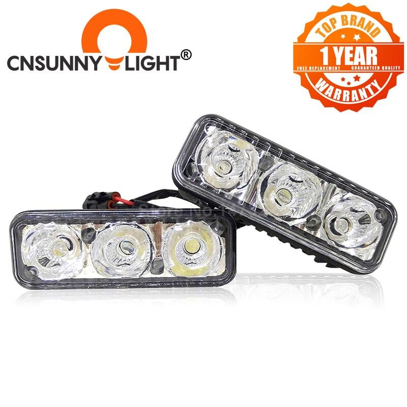 Luces de circulación diurna LED de aluminio CNSUNNYLIGHT de alta potencia para coche DRL con lente de proyector DC 12V blanco rojo amarillo azul lámparas antiniebla