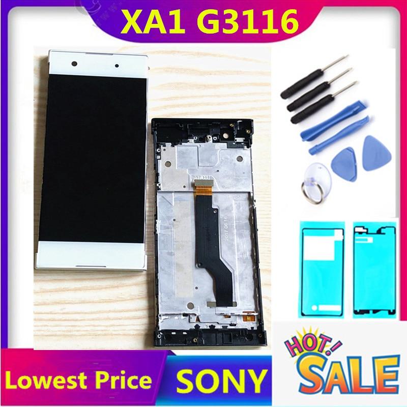 Оригинальный ЖК-дисплей для SONY Xperia XA1 LCD с кодирующий преобразователь сенсорного экрана в сборе XA1 G3116 G3112 G3115 дисплей с рамкой