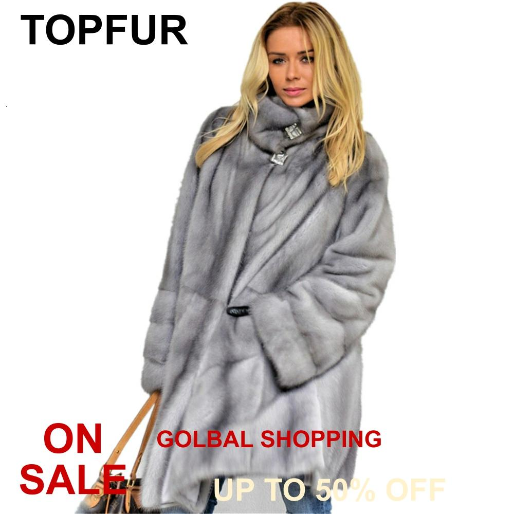 TOPFUR 2020 New Fashion Winter Real Fur Coat Women Light Grey Mink With Belt Stand Collar Full Sleeve garment pelt