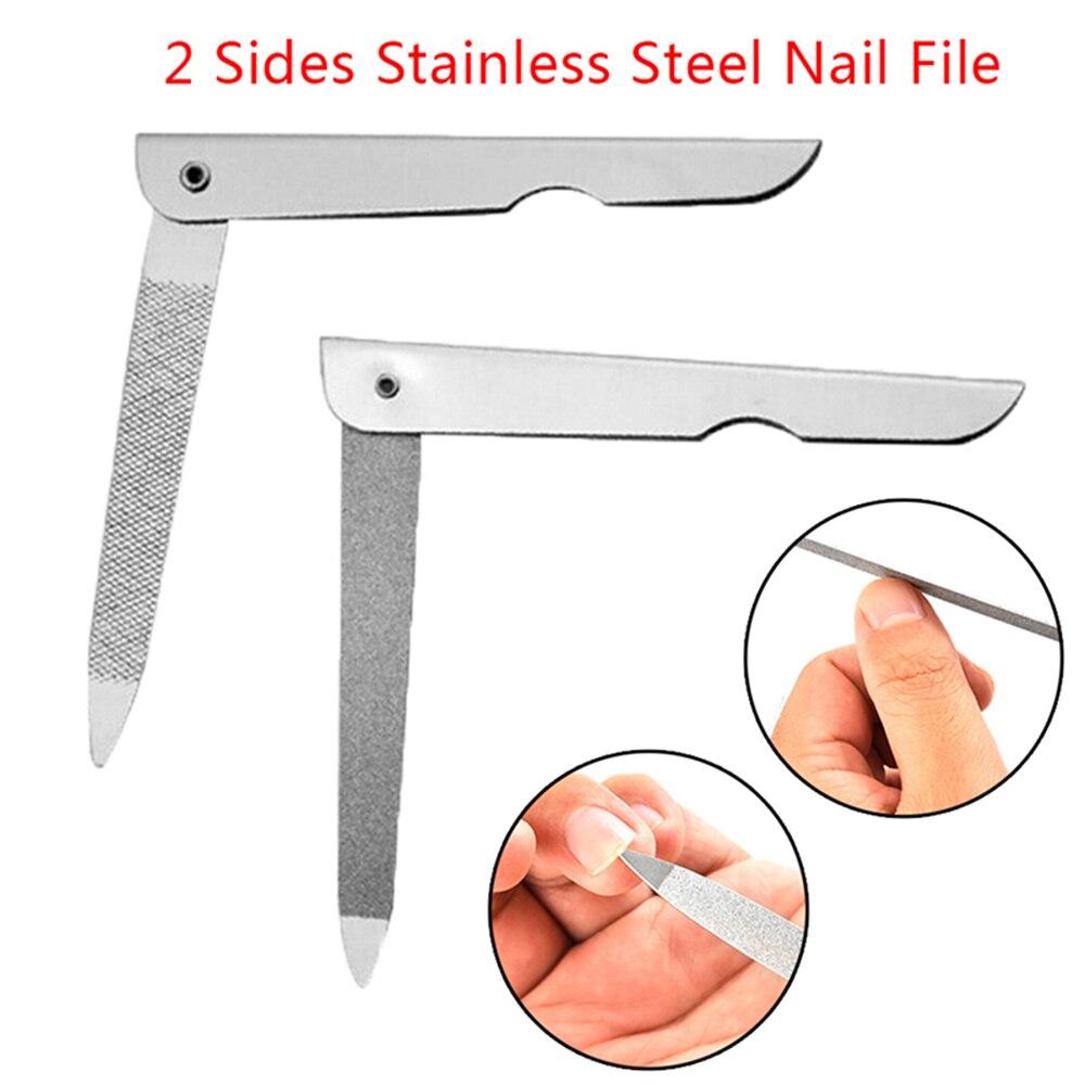 1 pc profissional arquivo de unhas de aço inoxidável dupla face dobre moagem haste manicure pedicure esfregue unhas artes ferramentas unhas arquivos