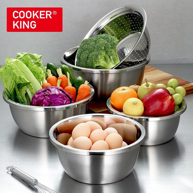 Kuchenka król 304 zestaw ze stali nierdzewnej 5 sztuk miski spustowy owoce mycie warzyw kosz z durszlak przyrząd kuchenny naczynia