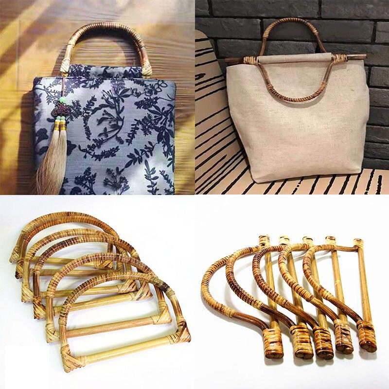 1 ud. Suspensión de marco de bolso en forma de D, mango de madera de bambú, reemplazo DIY, bolso de mano, ASA, bolso, fabricación de bolsos, accesorios de alta calidad