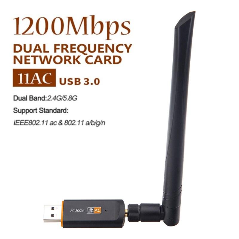 Adaptador Wifi USB inalámbrico, banda Dual, 1200Mbps, Lan, USB, Ethernet, controlador libre, 2,4G, 5G, Wi-fi, tarjeta de red, Wifi, 802.11n Dongle/g/a/ac