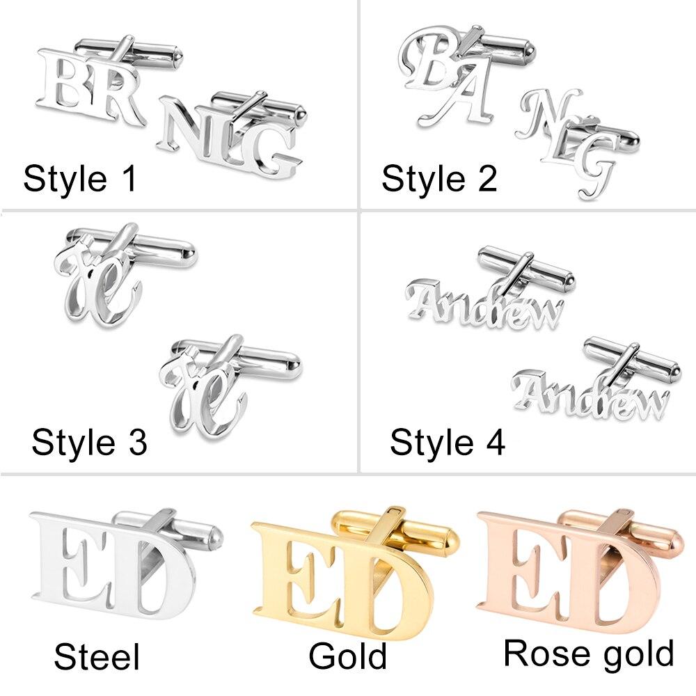 Personalized Letter Name Cufflinks Custom Initials Cuff links Buttons Wedding Gifts LOGO Mens Shirt Cufflink Men Jewelry Cuffs