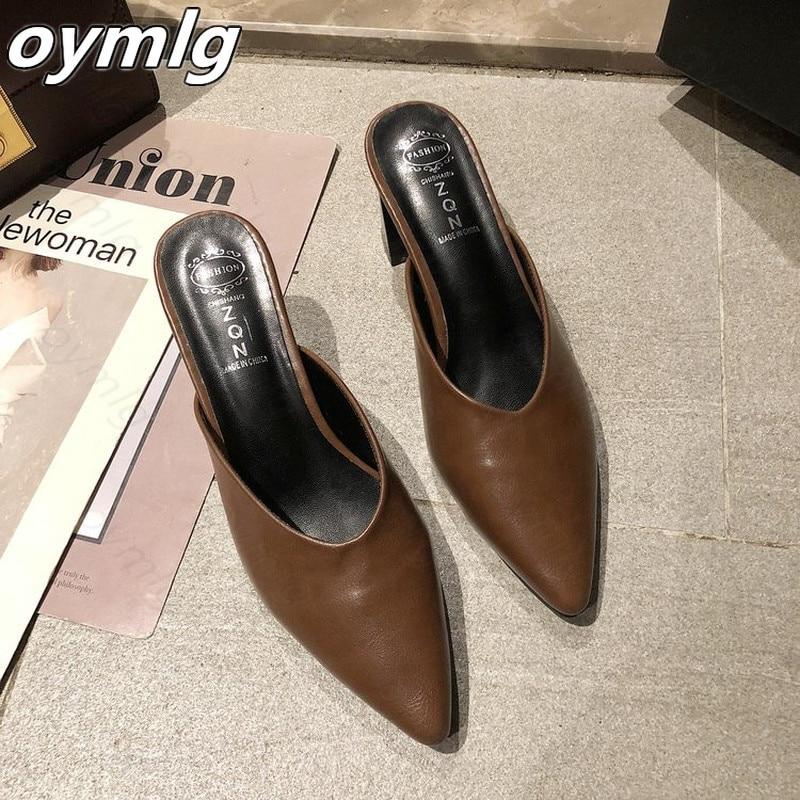 Zapatillas De tacón grueso para mujer, Zapatillas antideslizantes De punta para exteriores,...