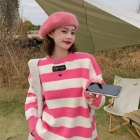 striped sweater women o neck loose casual knitted pullovers korean fashion autumn winter warm leisure knitted pullover sweater