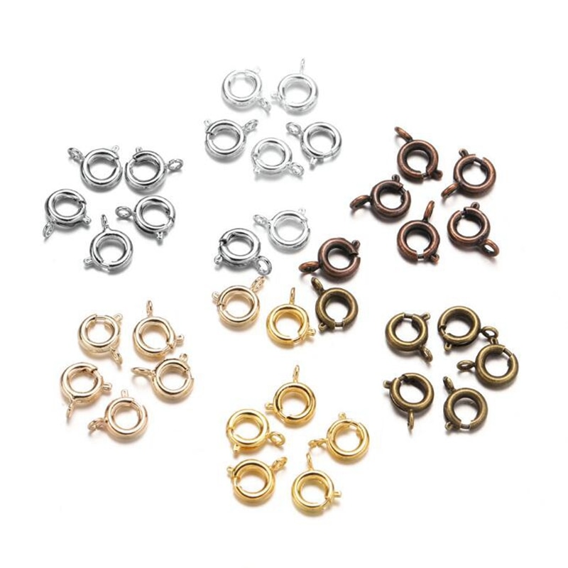 10pcs 6mm Round Stainless Steel Gold Round Claw Spring Clasps Hooks for Bracelet Necklace Connectors DIY Jewelry Making Supplies fast shipping stunning 8rows 6mm round crude pink coral necklace g165