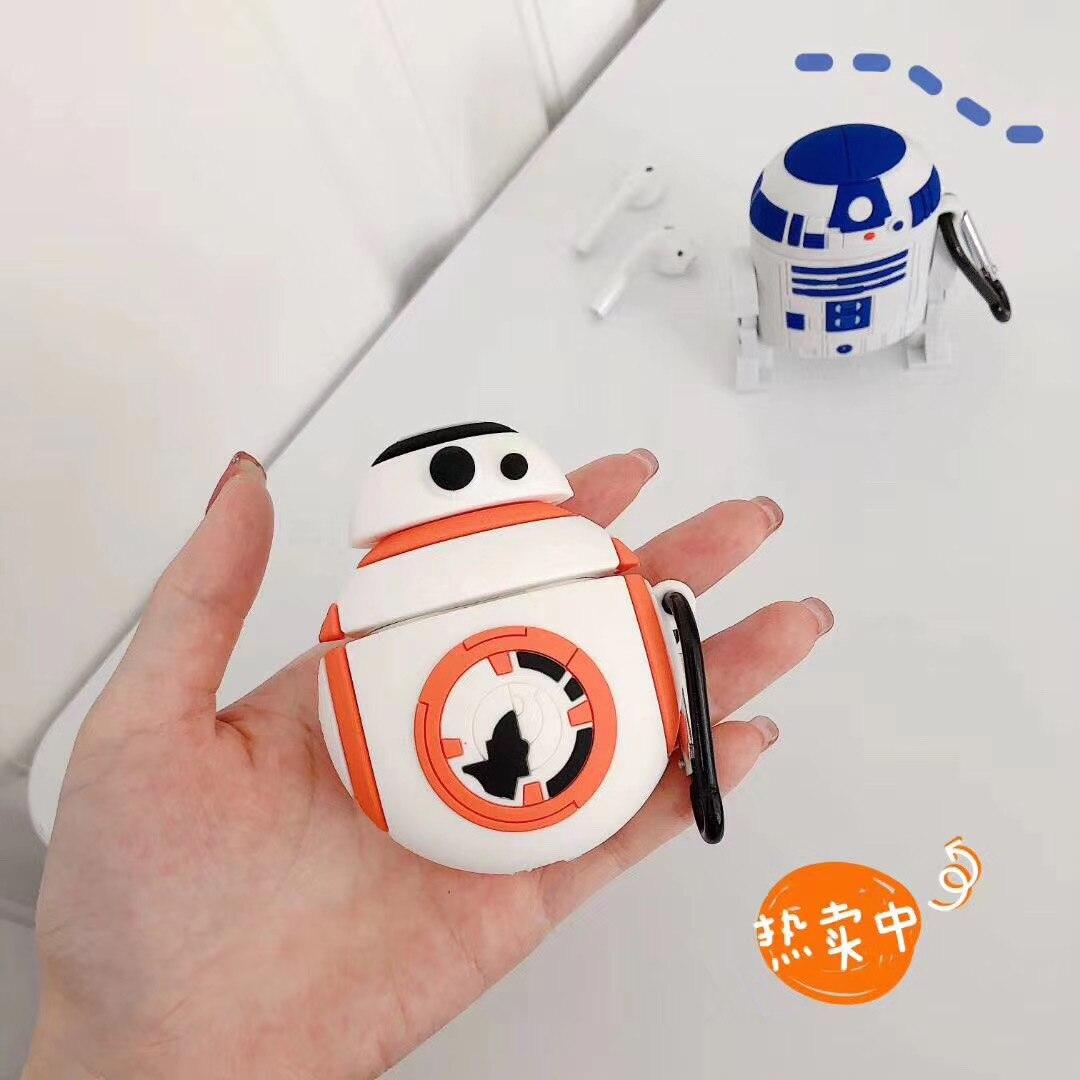 De simulación nueva estrella guerra BB-8 R2-D2 carcasa para teléfono de Robot para los Airpods 1 2 Pro 3D de fibra de carbono de silicona de dibujos animados lindo para AirPod