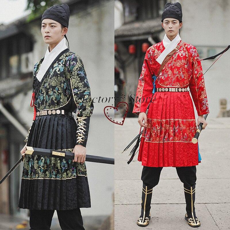 Hanfu, vestidos para personas que trabajan, ropa antigua, traje para invitados de artes marciales de la dinastía Ming, ropa para actuación de soldados