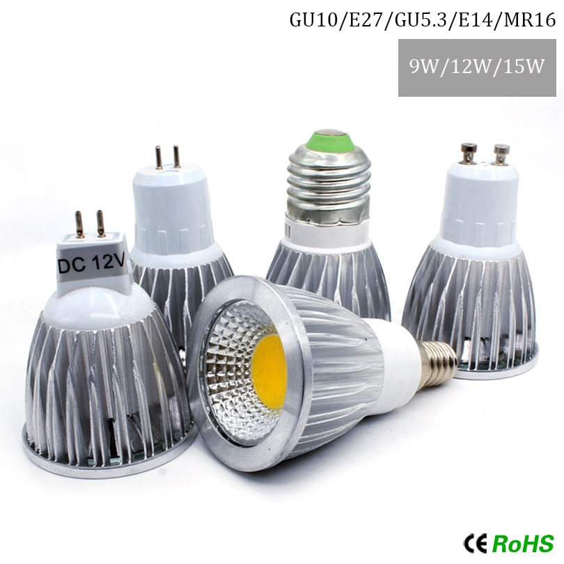 COB lumière led 9W 12W 15W MR16 GU10 E27 E14 LED Dimmable Projecteur Lampe haute Puissance Ampoule MR16 12V E27 GU10 GU5.3 E14 AC 110V 220V