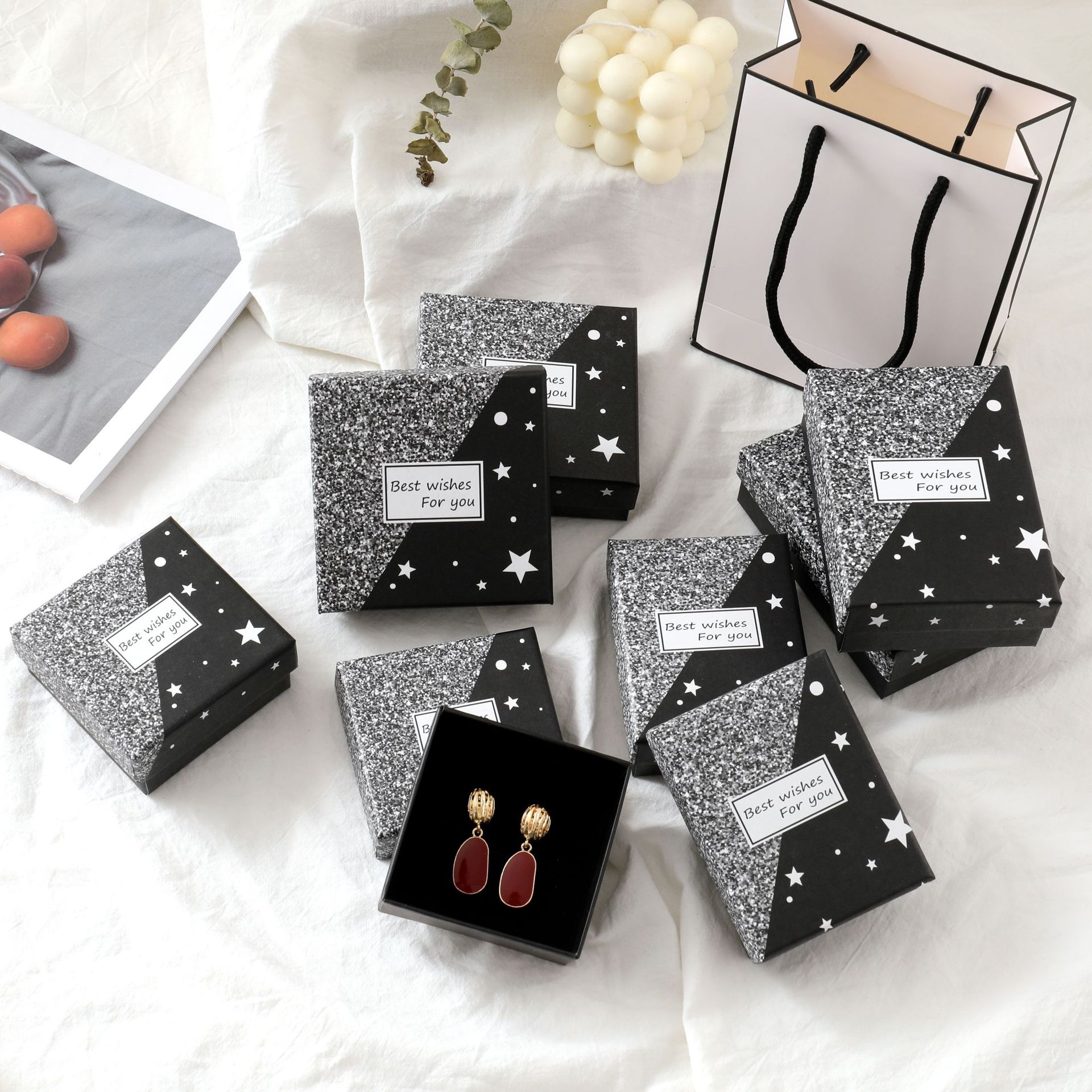 24 картонных шкатулки для украшений, набор звезд, подарочные коробки для хранения, квадратные прямоугольные для ожерелий, браслетов, серег, к...