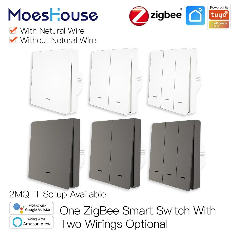 Moeshouse مفتاح الإضاءة الذكي تويا زيجبي لا سلك محايد لا يحتاج إلى مكثف الحياة الذكية 2/3 طريقة تعمل مع أليكسا جوجل 2mqtt