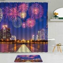 2Pcs Fireworks Bloom Beautiful Pattern Shower Curtain City Night Architecture Landscape Bathroom Cur