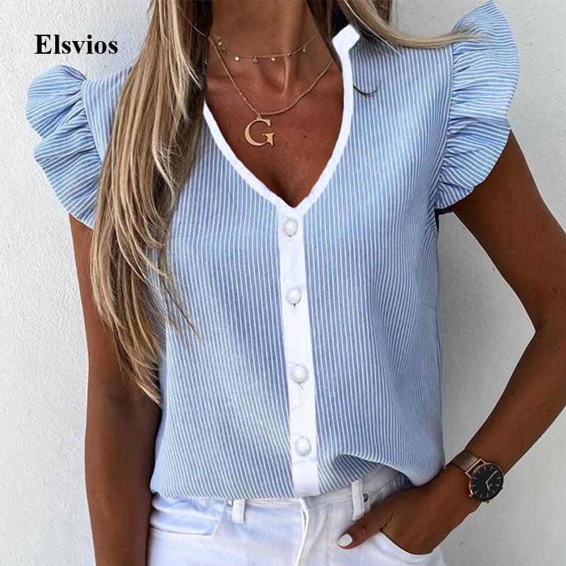 Blusa de mujer con estampado de Elegante a rayas, camisa Casual de verano de manga corta de mariposa, camisetas de oficina 2020 con cuello redondo y volantes para mujer, Blusa