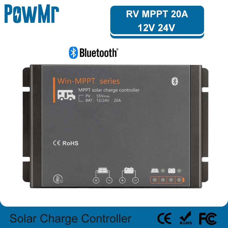 20A RV MPPT Solar Charge Controller 12V 24V Auto Solar Panel Regulator For Lithium Battery Motor Homes For Bluetooth