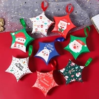 5pcslot christmas party paper gift bag birthday party decorations kids gift box bags star shape packaging candy box xmas decor