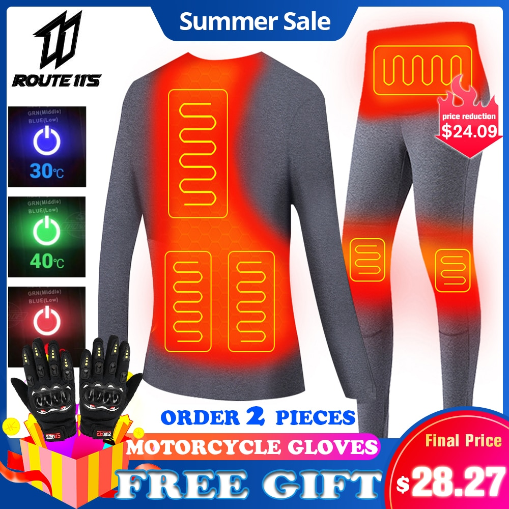 AliExpress - Motorcycle Jacket Heated Men Women Winter Heated Thermal Underwear Set USB Electric Suit Thermal Clothing for Winter S-5XL