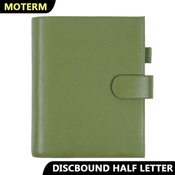 Moterm Discbound Series Half Letter Cover Genuine Pebbled Grain Cowhide Junior Expansion Disc Bound Organizer Journal Agenda
