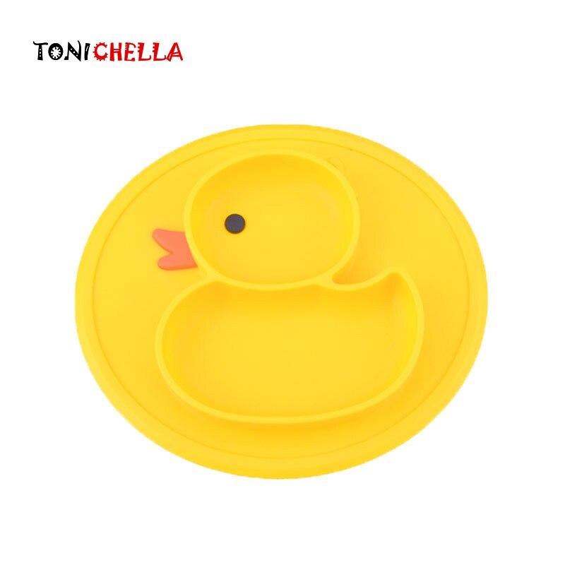 Детский коврик для стола с уткой, посуда, Детская безопасная силиконовая противоскользящая тарелка, Детская Мини-Пищевая соска для кормления, милый мультяшный коврик для малышей T0747