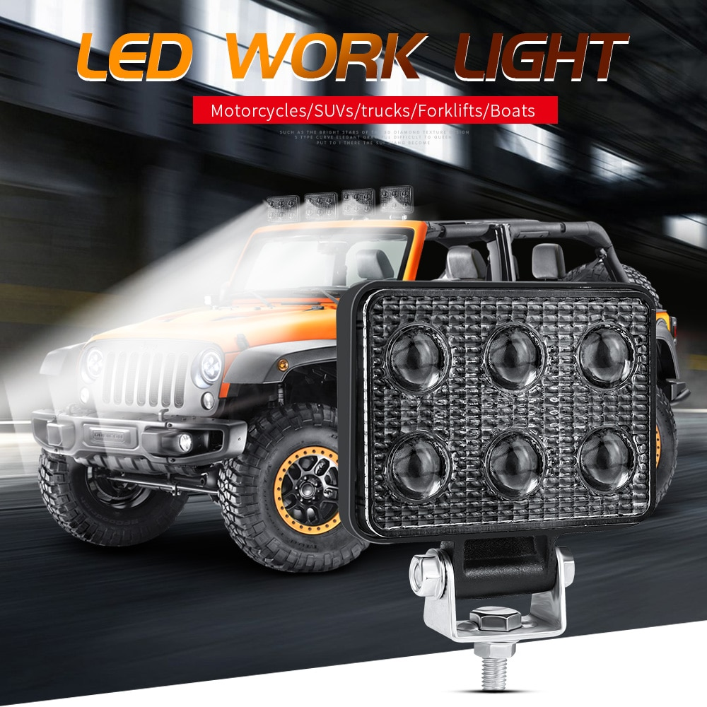 3 pulgadas luz de trabajo LED coche 6-LEDs 18W camión Luz de inundación 12V 24V para Offroad tractores SUV ATV barco vehículo agricultura impermeable
