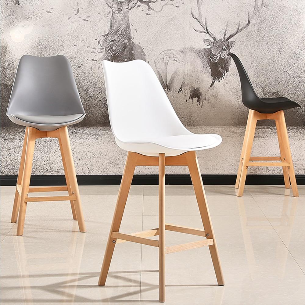 2 piezas Silla de barra moderna minimalista firmemente alto taburete Silla de Bar de madera café Pub beber taburete hogar muebles silla de cocina HWC
