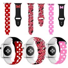 Cartoon Muis Band Case Voor Apple Horloge Serie 5 4 3 2 1 Voor Iwatch 44Mm 40Mm 38mm 42Mm Polsbandje Band Horloge Cover Minnie Riem