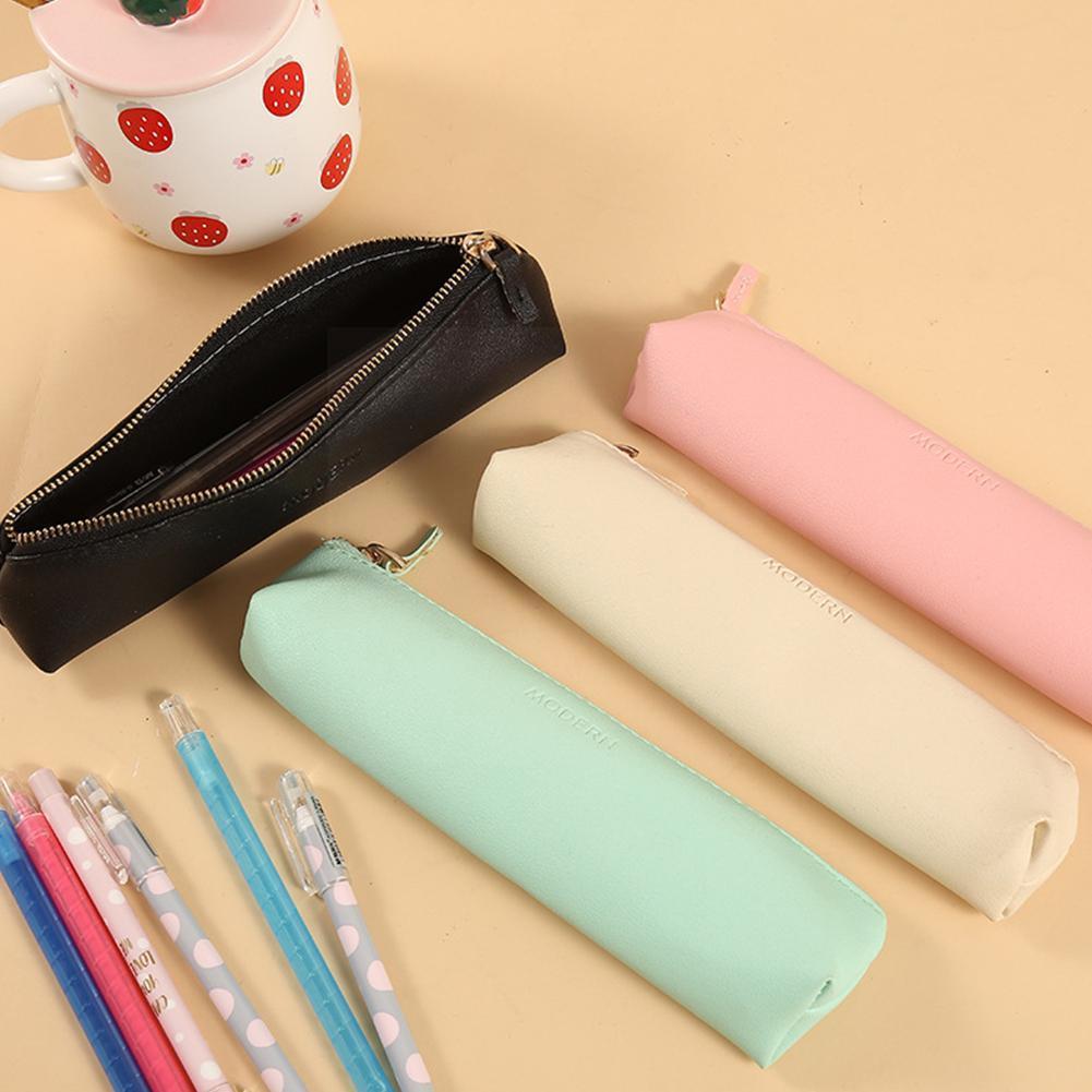 Портативные мини-сумки на молнии из искусственной кожи, органайзеры для хранения ручек и карандашей, цветные школьные косметички, B4c6
