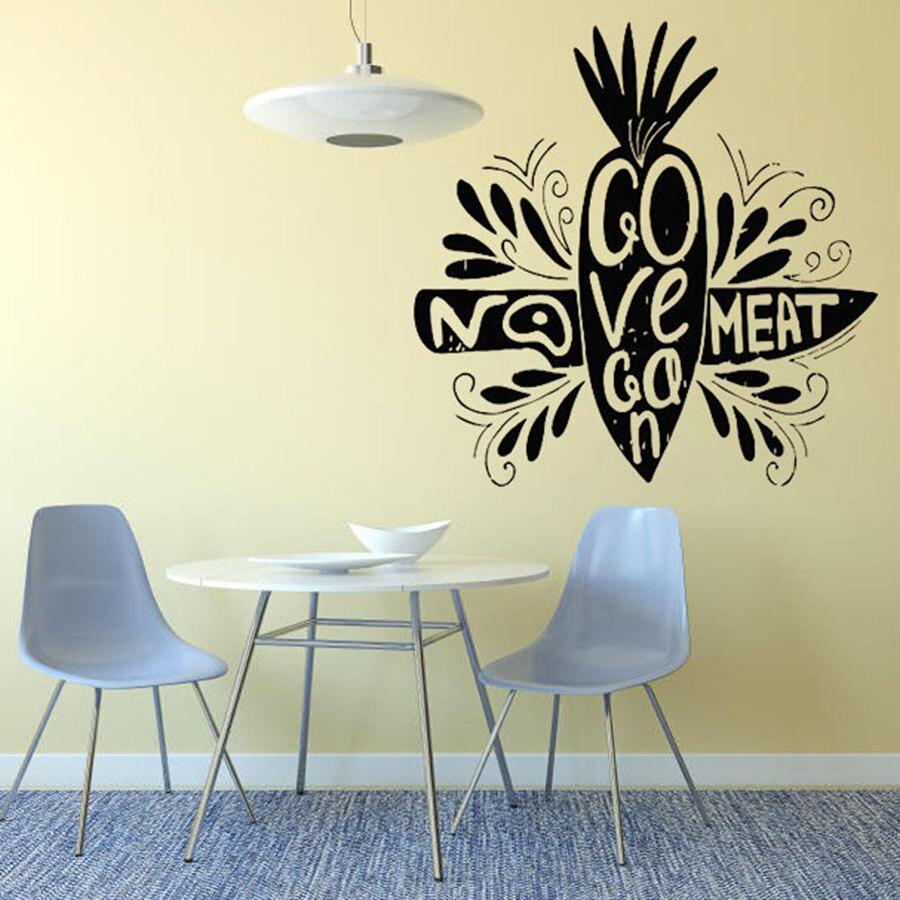 Etiqueta de pared sin carne ir cita vegana restaurante vegetariano cocina decoración Interior vinilo pared pegatina zanahoria creativo Mural arte S901