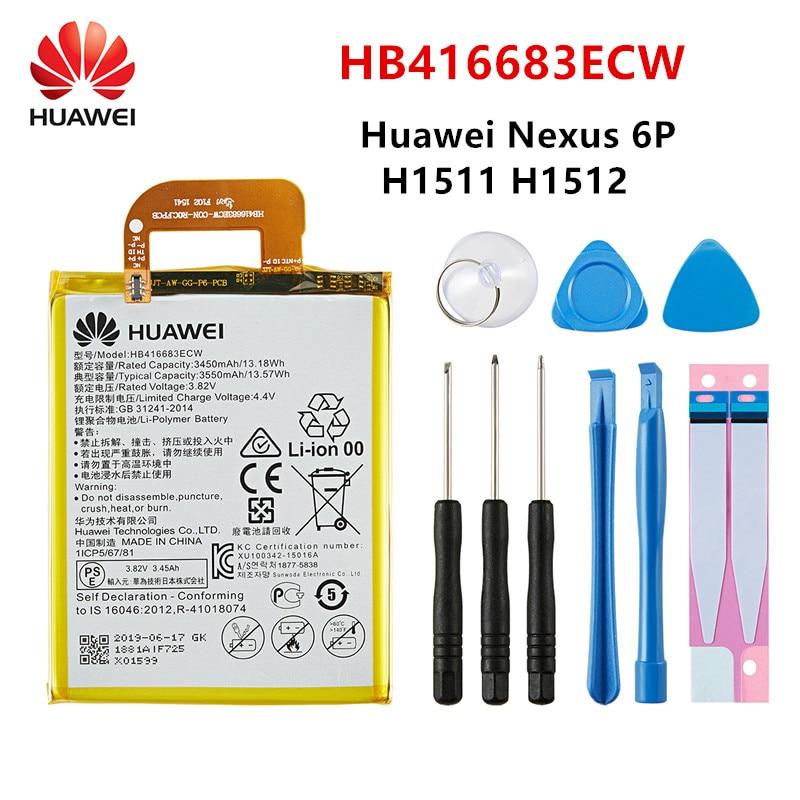 100% Оригинальный аккумулятор Huawei HB416683ECW 3550 мАч для HUAWEI Nexus 6P Nexus6P H1511 H1512 Аккумуляторы для мобильных телефонов + Инструменты 4060 мач li3940t44p6h876442 сменный аккумулятор для zte nubia z18 nx612j аккумуляторы для мобильных телефонов