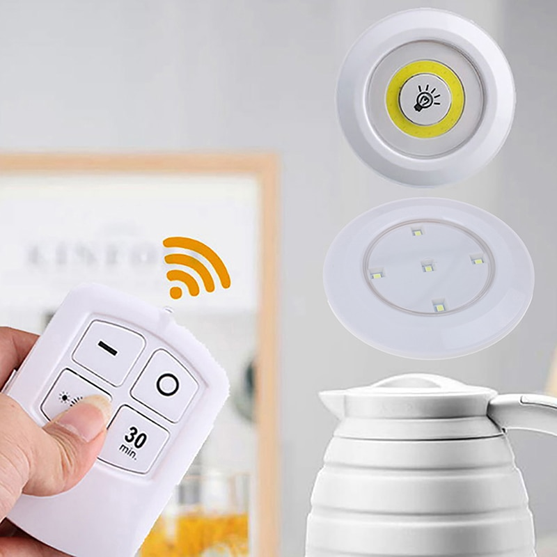 Lámpara COB de luz LED para debajo de gabinete, Control remoto regulable, suministro de luces inalámbrico