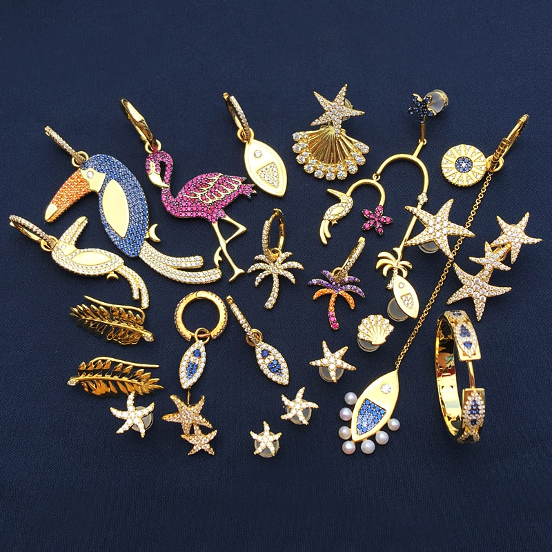 Cheny-أقراط نسائية من الفضة الإسترليني ، أقراط ، 925 فضة استرلينية ، نجم البحر ، شجرة جوز الهند ، الطيور ، الطيور