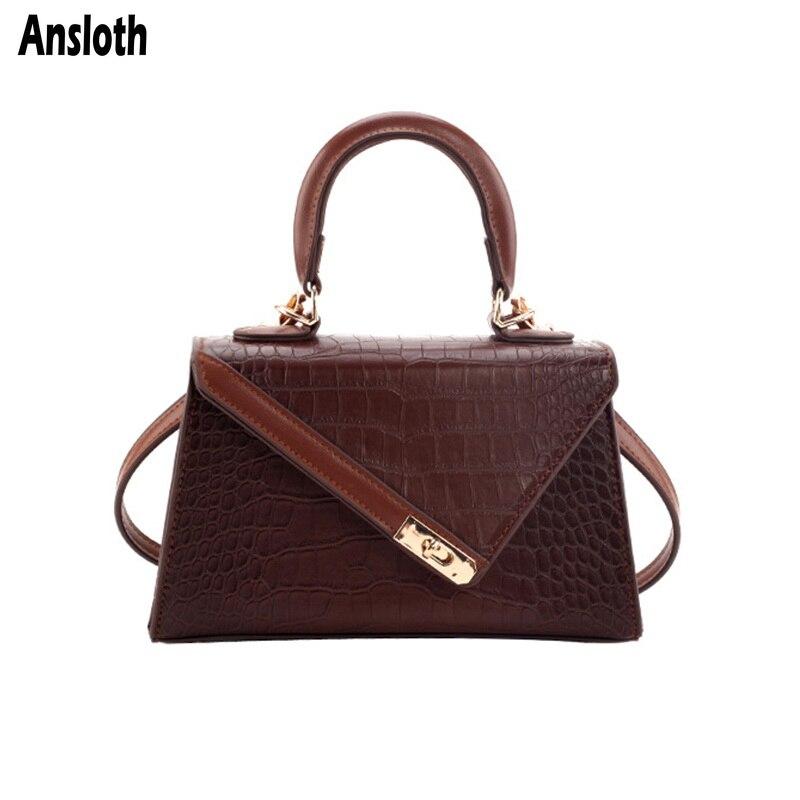 Ansloth Crocodile Pattern Shoulder Bag Women Bag Luxury Handle Bag Ladies PU Leather Crossbody Bag Female Small Handbag HPS811
